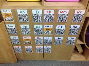 Using QR codes to link to YouTube alphabet playlists - great idea for independent kindergarten literacy activity!
