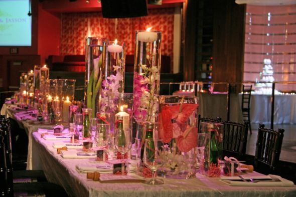 More Gladiolus centerpieces but with floating candles!