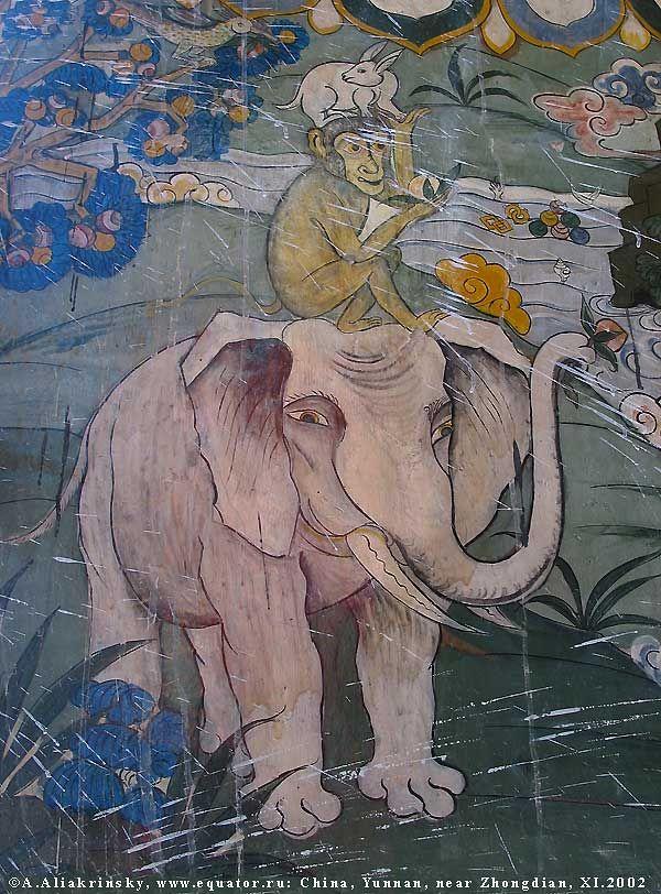 Шангри-Ла, тибетский монастырь Ganden Sumtseling. Слон с обезьяной. Фотографии из Китая. Путешествие в Южный Китай, провинция Юньнань.