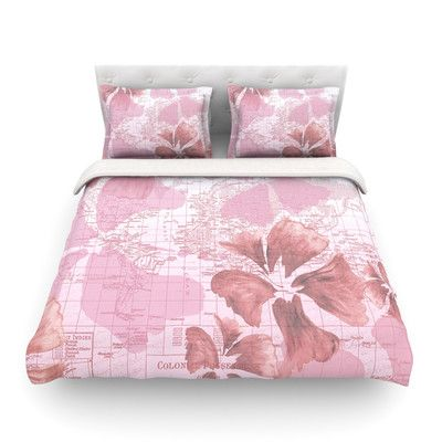 East Urban Home Flower Power Map by Catherine Holcombe Featherweight Duvet Cover