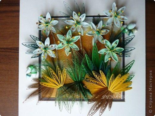 Картина панно рисунок Мастер-класс Квиллинг Зелёные цветы МК  Бумажные полосы фото 1