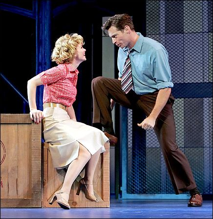 """Kelli O'Hara as Babe, the labor committee head, and Harry Connick Jr. as Sid, the superintendent, in """"The Pajama Game."""" 2006"""