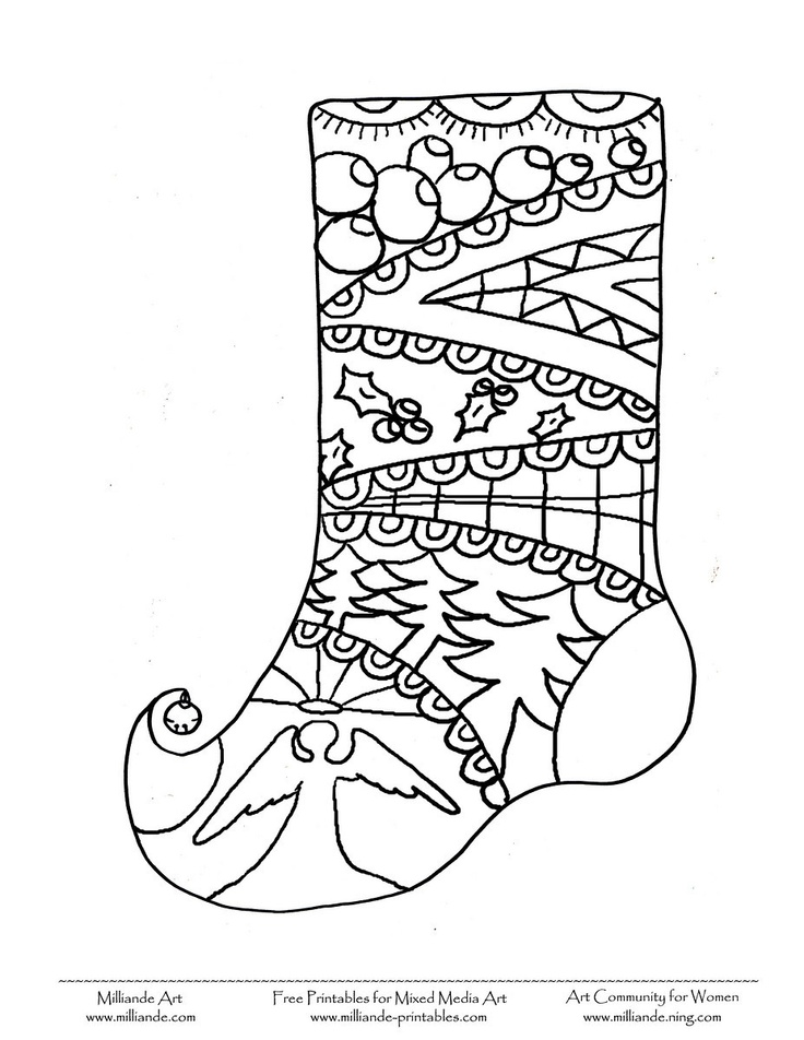 Cute Christmas stocking Colouring Page for Kids from our