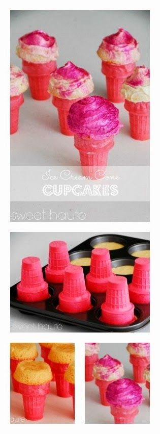 SWEET HAUTE: Pink Ice Cream Cone Cupcakes Tutorial Valentines Day ideas, birthday parties, cheerleading, breast cancer awareness, bridal / baby shower, sorority sister gifts!