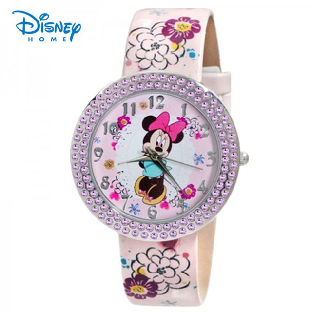 100% Genuine Disney Brand watches Minnie Frozen Sofia Princess watch printing Leather strap Casual watch relogio masculino 91402