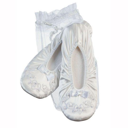 Victoria Lynn Ballerina Slippers with White Bead Trim