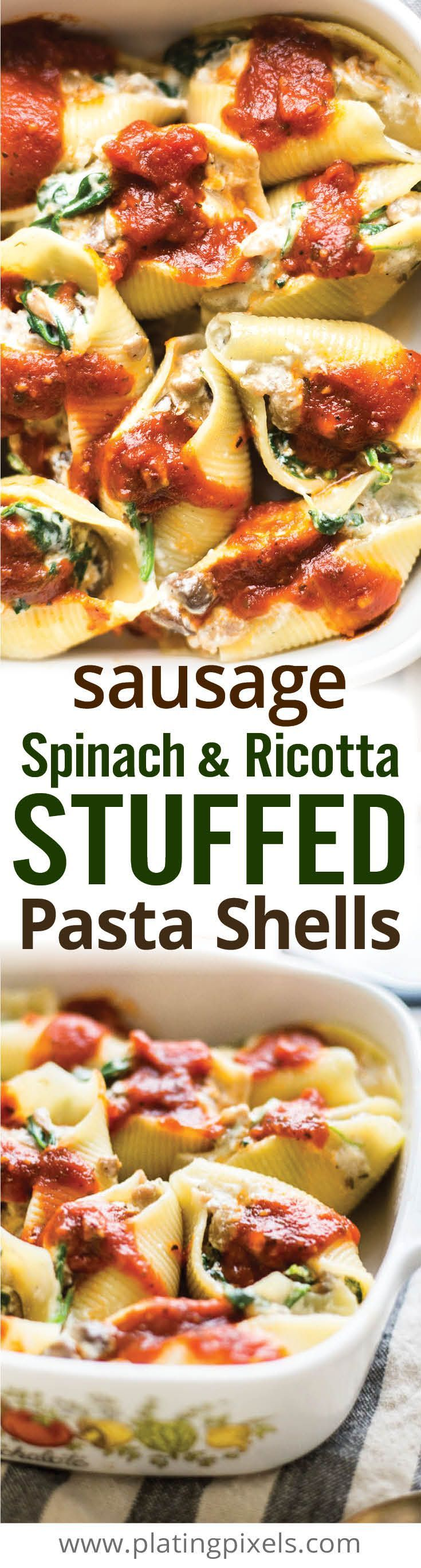 This authentic Italian stuffed pasta is perfect for feeding the entire family or for leftovers. Sausage, mushroom, spinach and ricotta stuffed pasta shells create a unique casserole full of flavor. [ad] #PremiumPrep - http://www.platingpixels.com