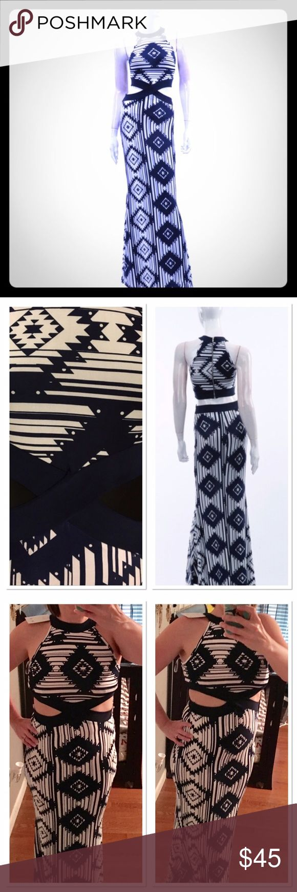 Aztec Maxi Dress Aztec print, dark Navy and white cutout maxi new with tags. A cute cutout shoes just the right amount of skin and has a small open lower back with a zip up detail in the back. 95% Polyester 5% Spandex this dress is so cute I wish it fit me better! Size L fits more like a medium. Dresses Maxi