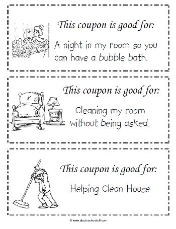 this free printable coupon book for kids to give to mom on mothers day includes cleaning - Kid Free Books