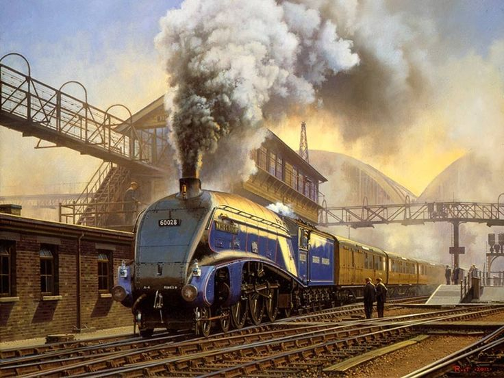 """the-outer-topic: """" 1949 Postwar blues - Malcolm Root Gresley A4 No. 60028 'Walter K. Wigham' leaves Kings Cross station with an express to Edinburgh in 1949.The LNER's express pacific designs were probably the most famous of LNER locomotives, of..."""