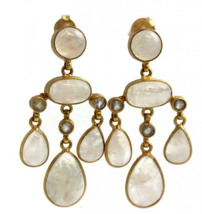 Selina Moonstone Chandelier  Earrings