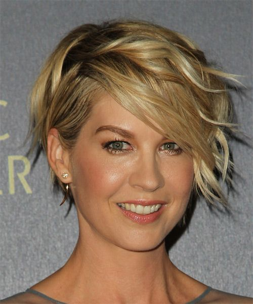 Jenna Elfman Short Wavy Hairstyle - Dark Blonde (Golden) - side view 1