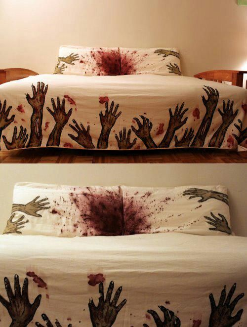 Zombie Bedsheets - Walking Dead, Bloody, Halloween gift idea Zombie Gifts or Zombie presents for that hard to shop for Undead in your life