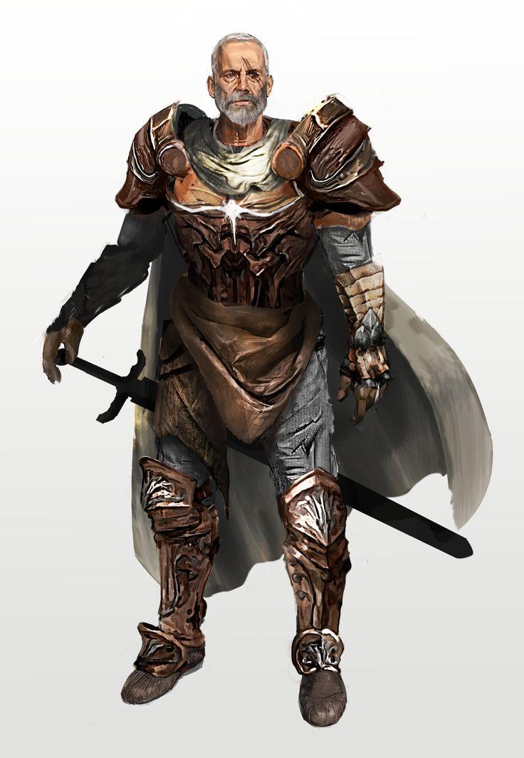 old man knight warrior fighter scar beard sword cloak