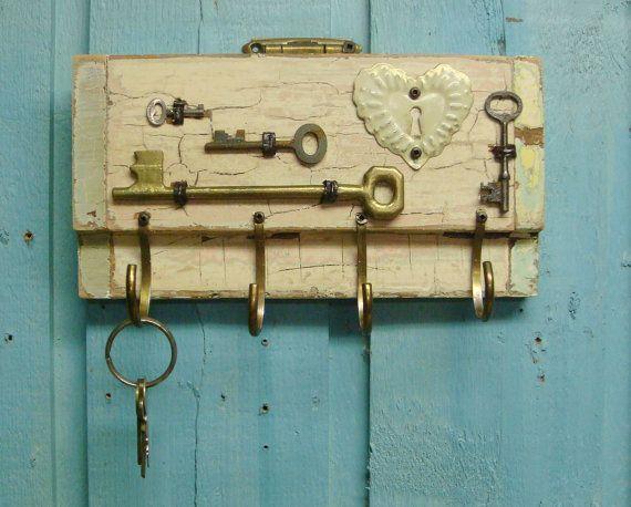 Pink Cream Crackled Key Holder With Vintage Skeleton Keys