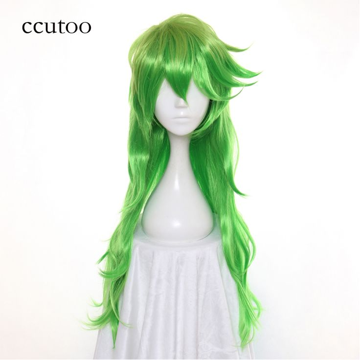 ccutoo 80cm Long Curly Synthetic Hairstyles Heat Resistance Fiber Cosplay Wigs Green Golden Ombre No.25 Wig Hair #Affiliate