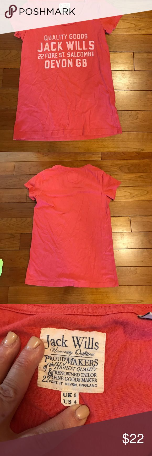 Jack Wills Boyfriend T Shirt Coral colored Jack Wills Signature Boyfriend T shirt EUC. Super Soft Jack Wills Tops Tees - Short Sleeve
