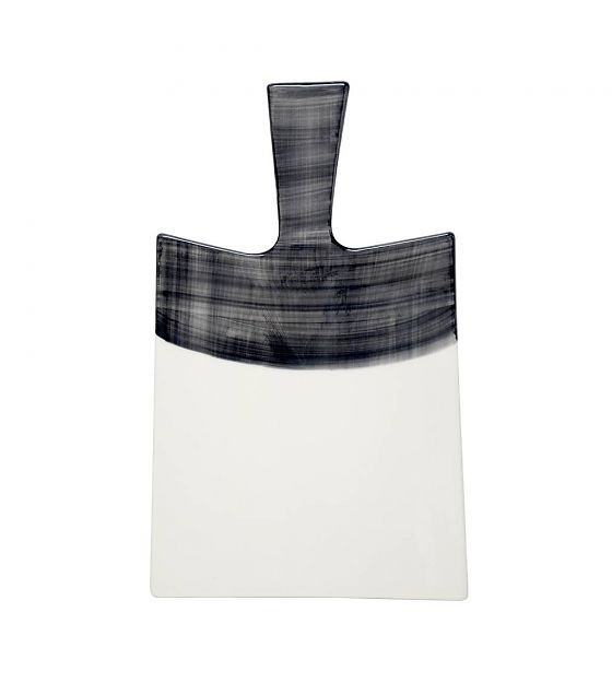 HK-living Broodplank zwart wit keramiek 33,5x21x0,7cm - wonenmetlef.nl