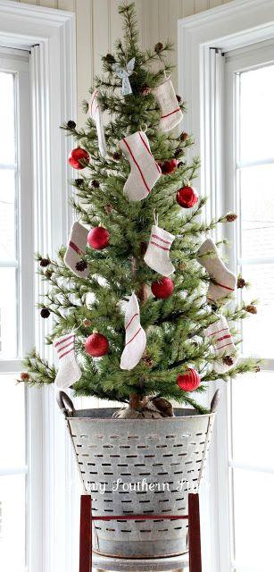 Small Christmas tree, olive bucket, grain sack stockings, tabletop tree