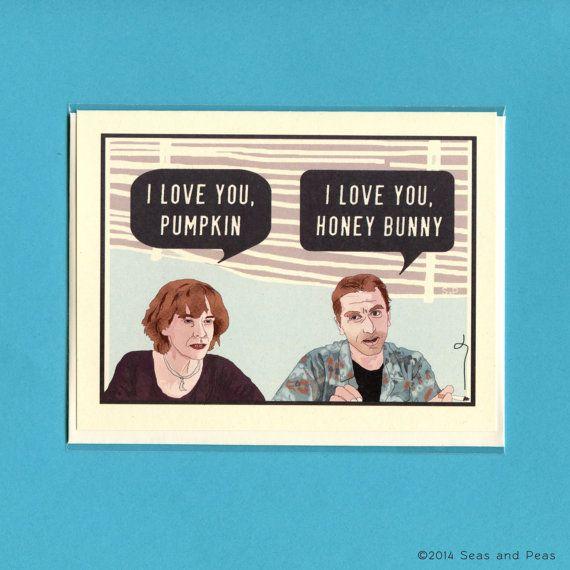 Funny Love Card  PUMPKIN & HONEY BUNNY  Pulp by seasandpeas, $4.25