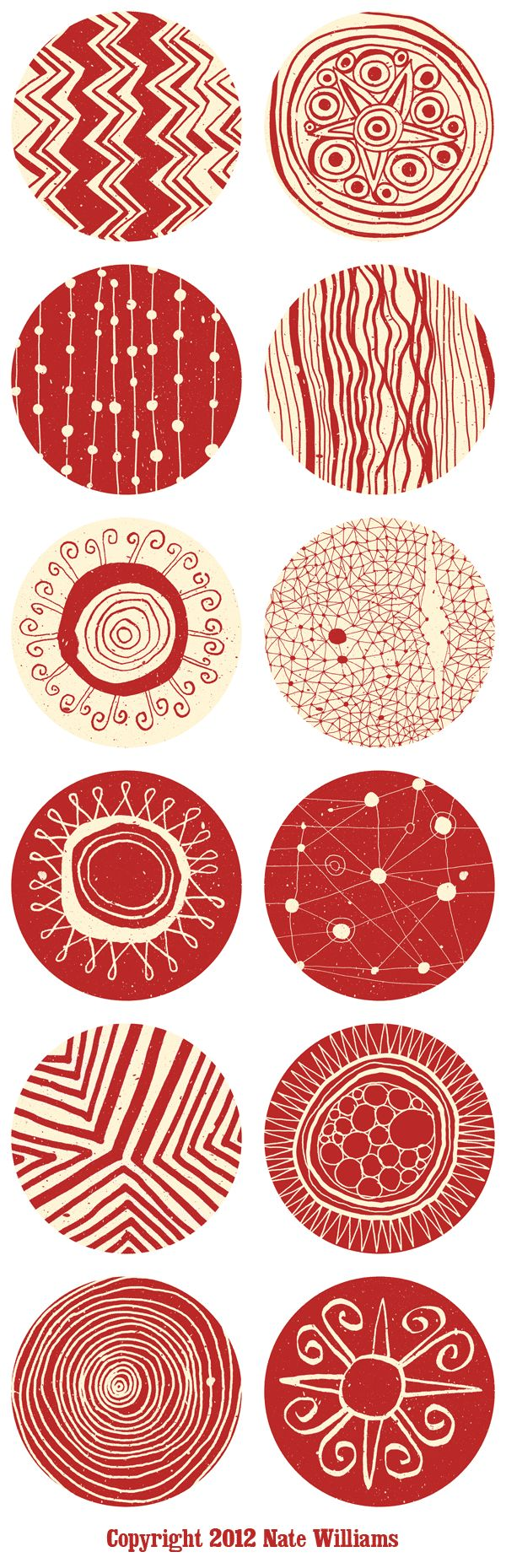 Nate Williams, Buenos Aires, Argentina. Hola Amiga Pillows. Circular surface design patterns for silkscreen.
