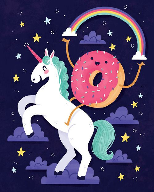 "This was entitled ""Strange and Beautiful."" LOL! Wish I could find the artist of magical unicorn and happy donut partners in crime - need this painted as a mural at my house, no joke."