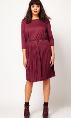 ASOS Curve Midi Dress with pleat skirt