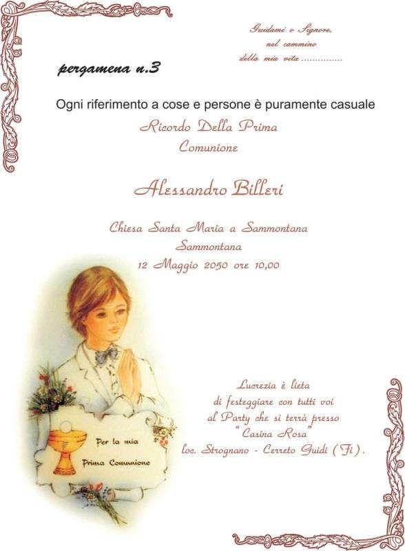 pergamena invito prima comunione