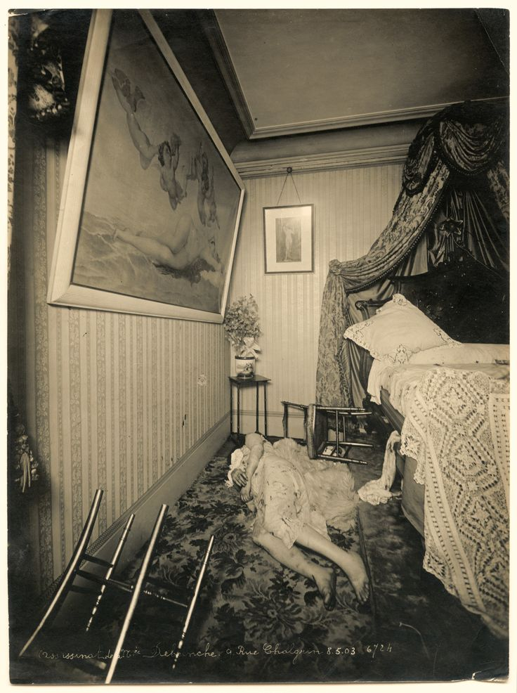 Madame Debeinche was found lying dead on the floor of her apartment on 9 Rue Chalgrin in Paris on May 8, 1903.