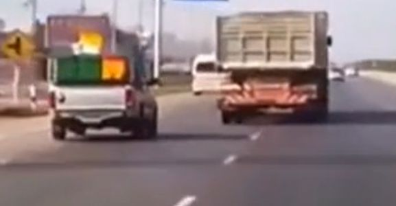 Crazy Truck Driver in a Road Rage