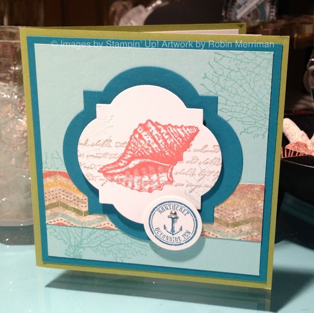 Front view of a diorama card using the By the Tide stamp set and Window Frames framelits #diy #stampinup #diorama #bythetide
