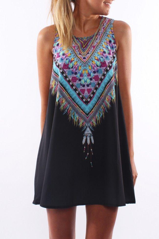 Summer Casual boho Mini Party Beach Floral dress