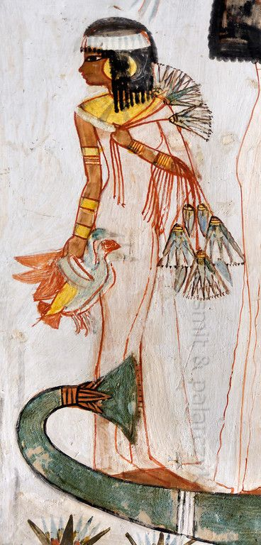 """[EGYPT 29322] 'Girl with lotus flowers in Menna's tomb at Luxor.' A mural detail in the tomb of Menna shows a young girl carrying lotus flowers and the ducks that her father Menna has caught while hunting in a papyrus swamp. Menna was an 18th dynasty inspector of estates and overseer of harvests and his tomb (TT 69) can be found in the Sheikh Abd el Qurnah Necropolis on the Westbank at Luxor. It is one of the socalled """"Tombs of the Nobles"""" and dates to the end of the reign of Thutmosis ..."""