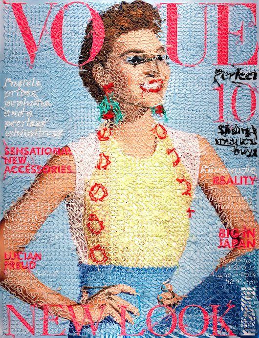 L'artista irlandese Inge Jacobsen crea copertine incredibilmente dettagliate della rivista Vogue attraverso l'arte della cucitura a mano.   www.stampediarte.it    #arte #digitalart