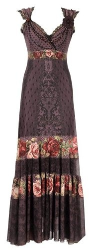 Long Dress by Michal Negrin with Crystals, Floral Print, Lace and Velvet Strips | eBay: Long Dresses, Victorian Rose, Full Length Dresses, Swarovski Crystals, Dresses Create, Michal Negrin, Special Occasion Dresses, Rose Patterns, Lace Trim
