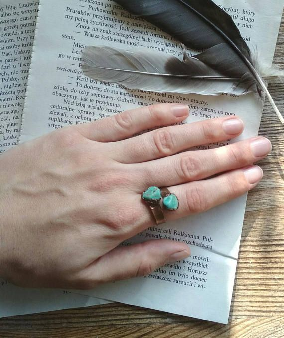 Raw turquoise ring turquoise copper ring open ring raw