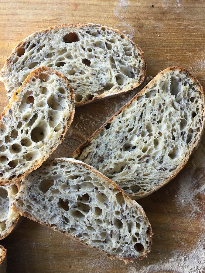 This flax and chia seed sourdough bread recipe gives you a nutritious and very soft bread that makes great sandwiches or morning toast