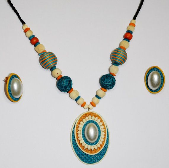 Intricate detailing and designing of these handmade jute sets make them a special wear. These are complete sets with earrings/studs and a necklace. Artisans have worked on colors, stones, pearls, carving and cutting of jute beads to create these unique jewelry pieces. Jute is a natural