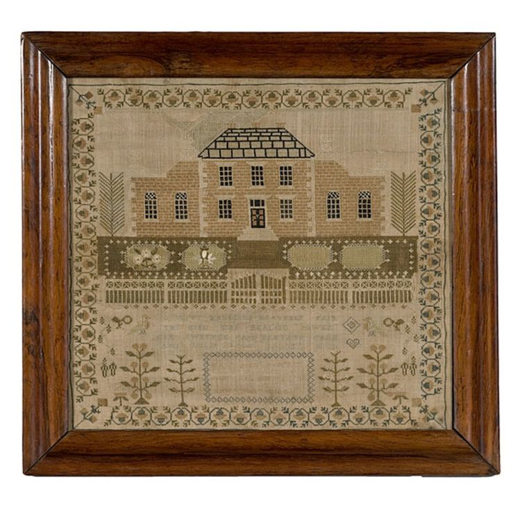 """silk on linen. A large house with verse below, signed Mary Ann S?cres/ Anno Domini 1811/ Aged 13 years. All surrounded by a decorative floral border, and in a period rosewood ogee frame; 18"""" high x 20"""" wide...."""