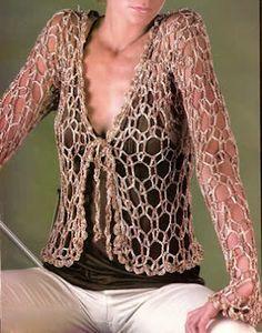 Saco o chaleco calado tejido a crochet talla 44 Como hacer un saco calado tejido, ropa de verano tejida OjoconelArte.cl  