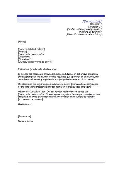 modelos de cartas de presentacion y curriculum | Home Cartas de presentacion Modelo carta de presentacion
