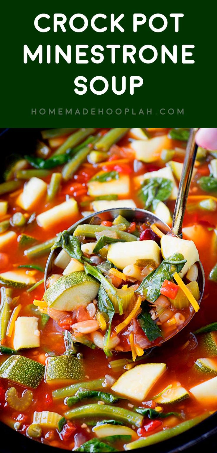 Crock Pot Minestrone Soup! An easy to make and hearty meatless soup with a melody of herbs and fresh produce that's slow cooked in your crock pot. It freezes well, too!   HomemadeHooplah.com