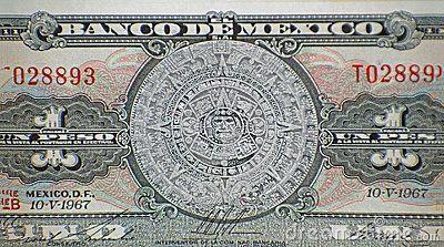 Aztec Calendar Sun Stone Piedra del Sol and Mayan bas-relief on Mexico 1 peso 1967 banknote, Mexican money.