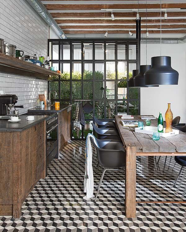 exposed beams + wood + rustic + open shelves + wood + b/w checkerboard: