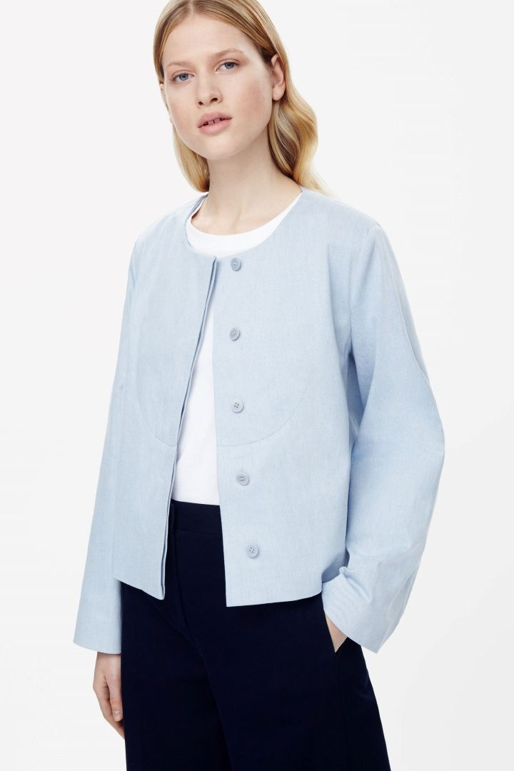 COS | Cropped blazer with topstitch detail