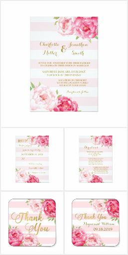 Blush Stripes Gold Pink Flowers Wedding Set #weddingideas  #floralwedding  #floralweddinginvitations  #romanticweddinginvitations  #weddinginvitations