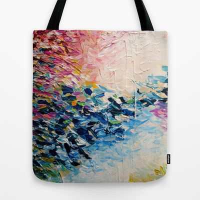 """""""Paradise Dreaming"""" by Ebi Emporium on Society 6, Colorful Whimsical Fine Art Textural Abstract Acrylic Painting Modern Brushstrokes Pink Blue Nature Landscape Artwork Fashion Canvas Tote Bag #abstract #art #fineart #pastel #colorful #print #textural #tote #bag #totabag #canvas #shoulderbag #fashion #stylish #style #giftforher"""