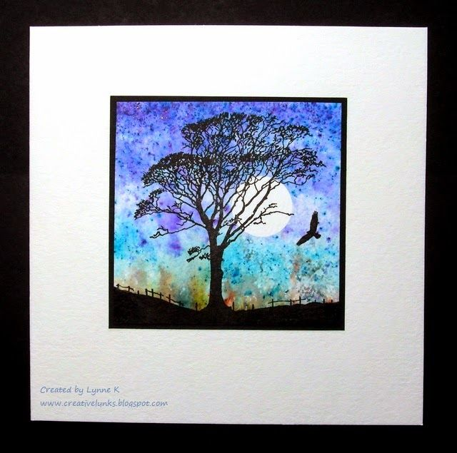 The old beech tree near my house, made into a fabulous stamp for me by Deby at www.inkylicious.co.uk  Background made with Brusho paints.