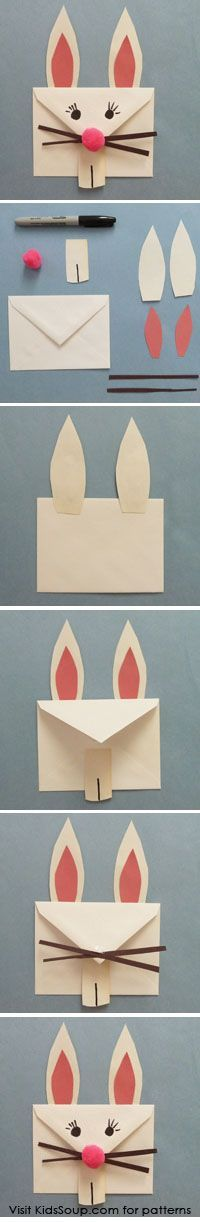 Envelope Easter Bunny - How cute are these and so easy to make! A simple Easter project to do with your kiddo's
