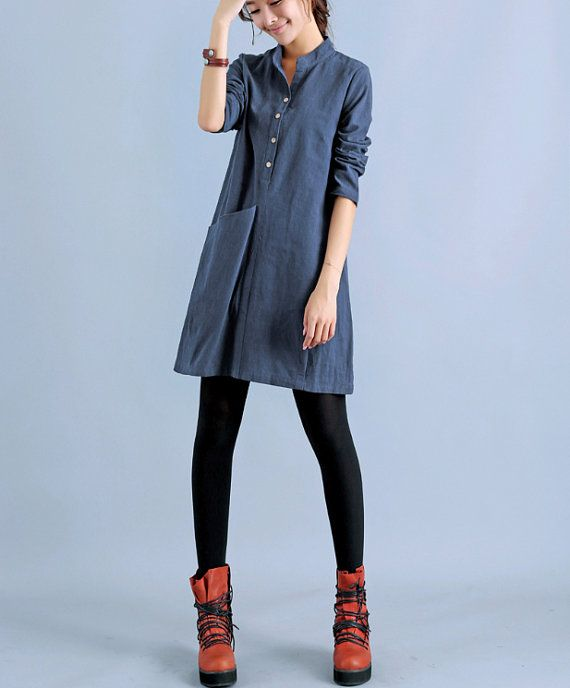 Hey, I found this really awesome Etsy listing at https://www.etsy.com/listing/199968828/blue-long-sleeve-women-shirt-dress-women
